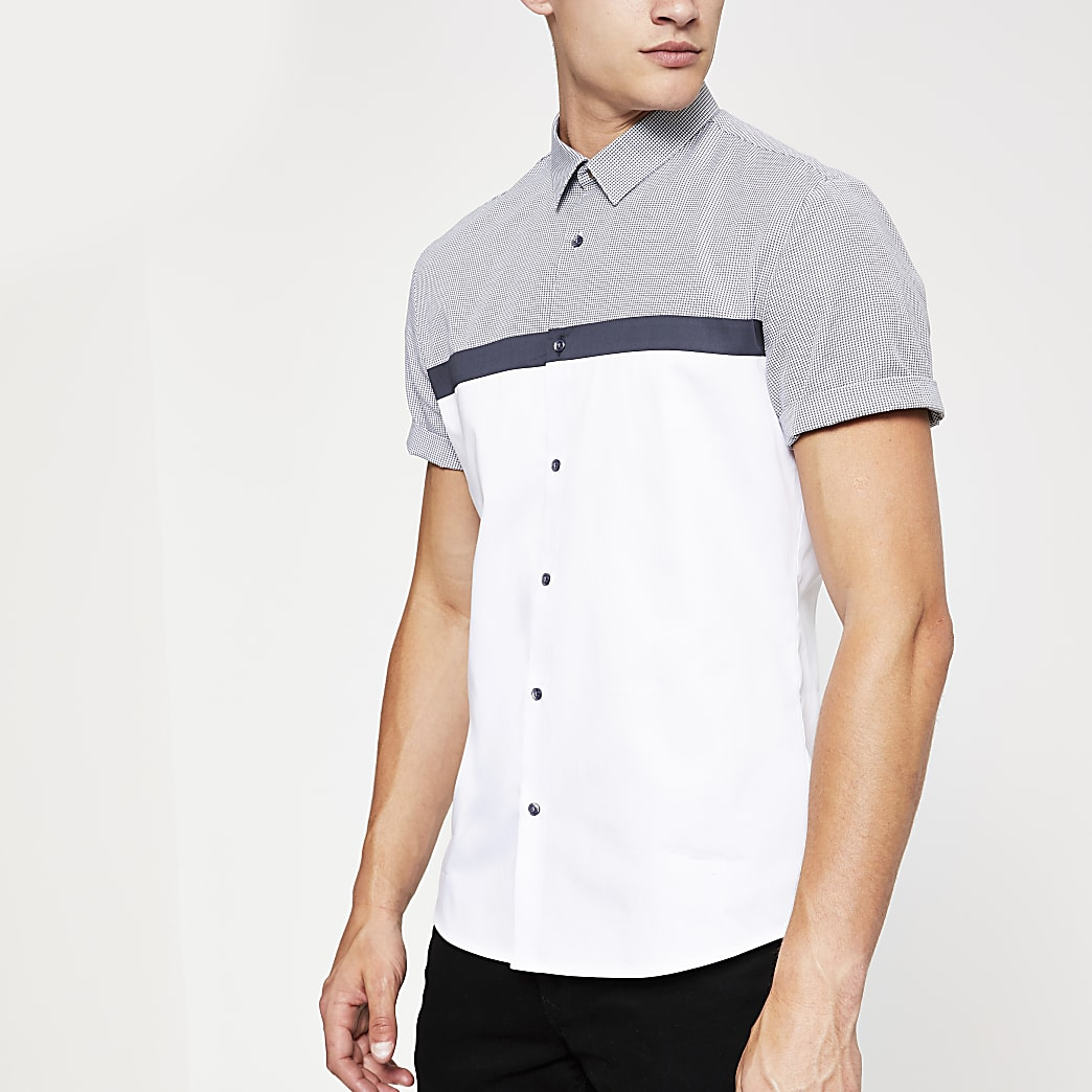 White check block print slim fit shirt