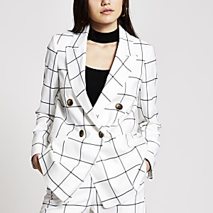 White check double breasted blazer