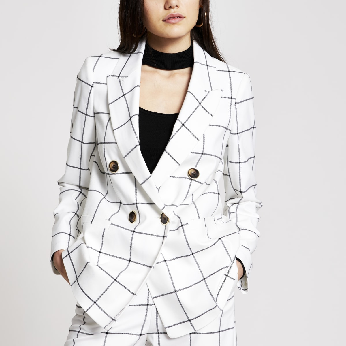 Witte geruite double-breasted blazer