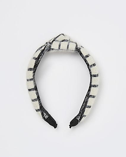 White check print knot headband
