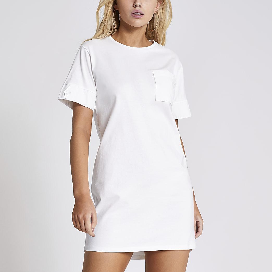 White chest pocket mini T-shirt dress