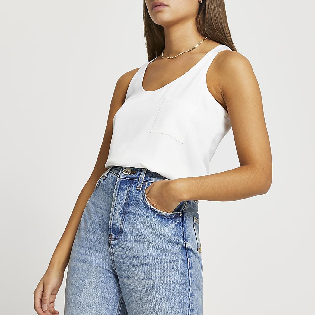 White chest pocket vest top