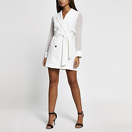 White chiffon hybrid blazer dress