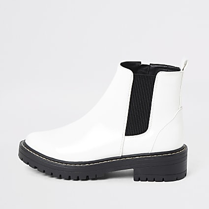 White chunky patent ankle boots