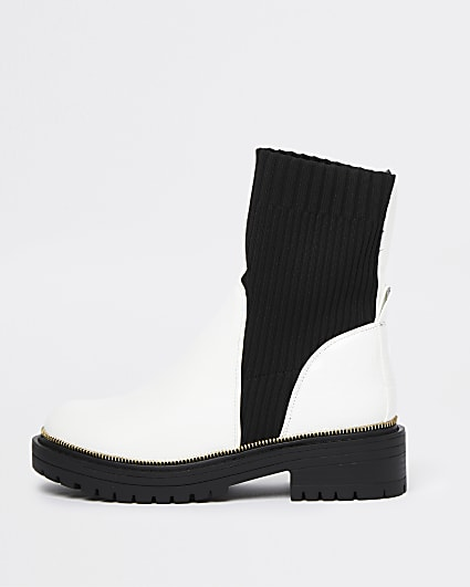 White chunky sock boots