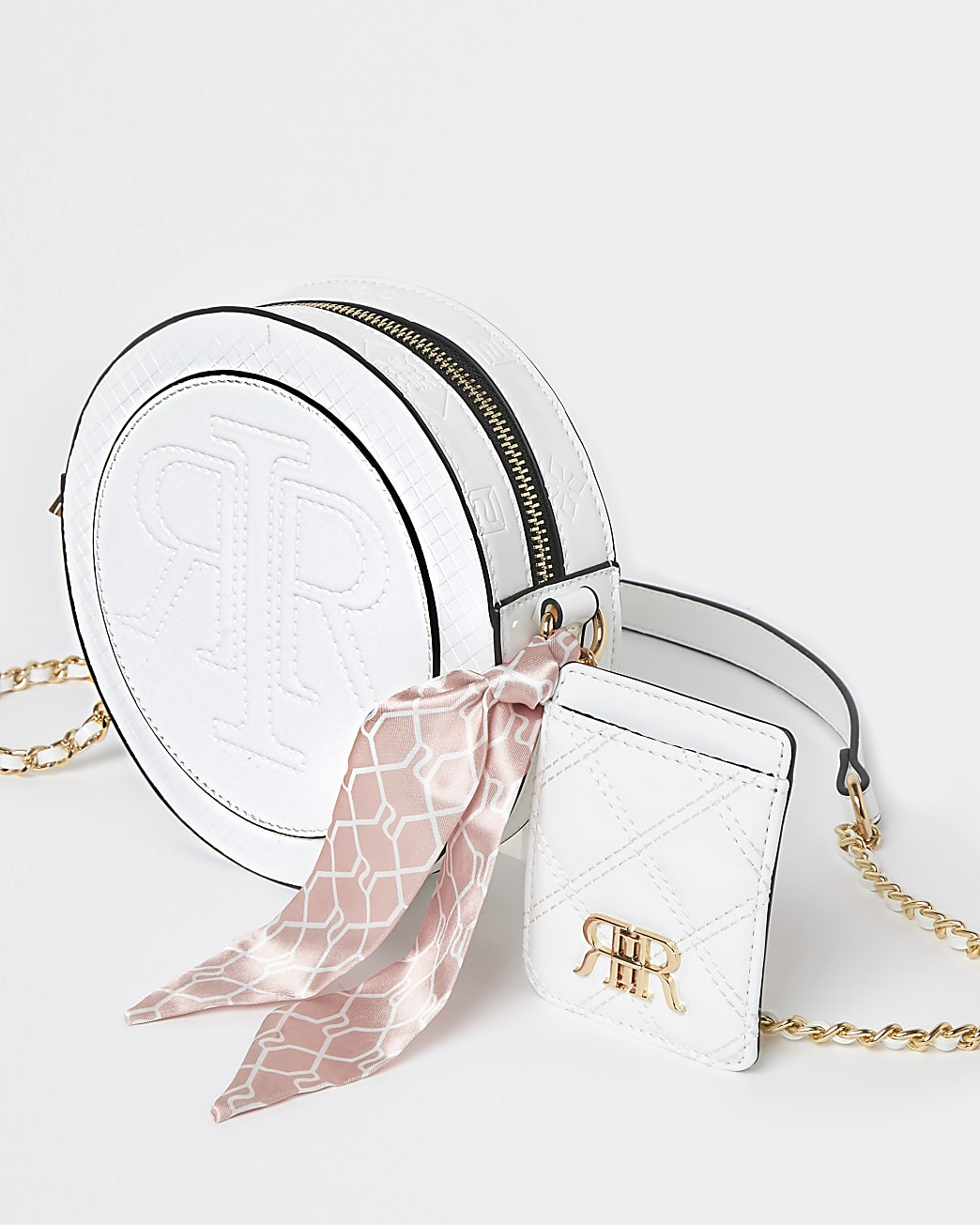 White circle embossed pouch bag