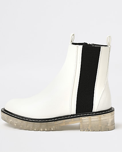White clear sole chelsea boot