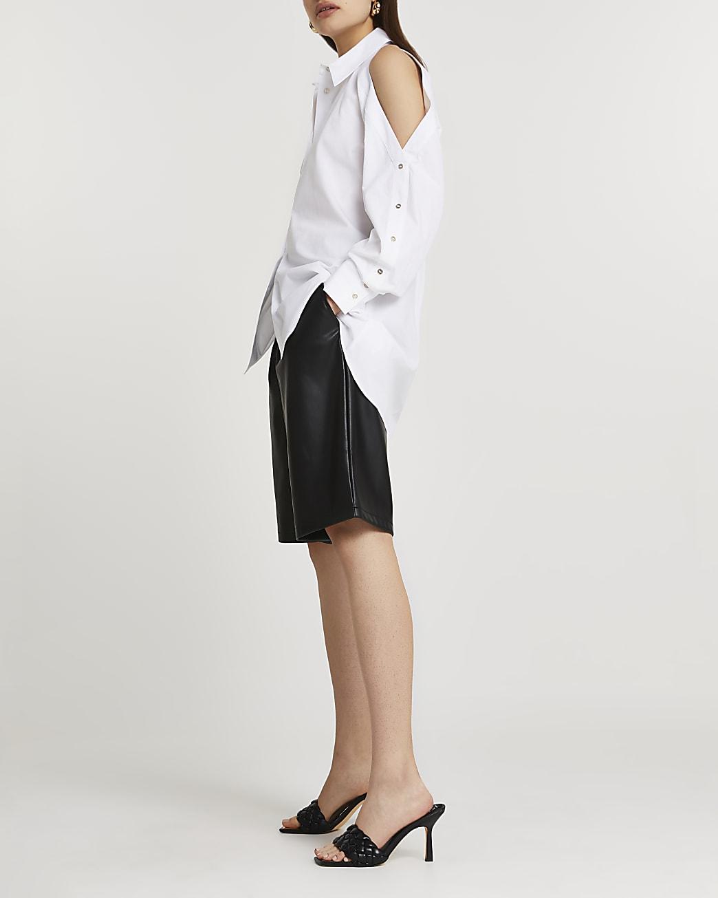 White cold shoulder button shirt
