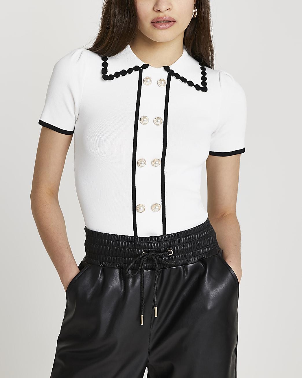 White collar short sleeve top