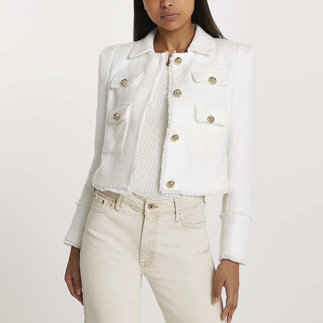 White collared boucle jacket