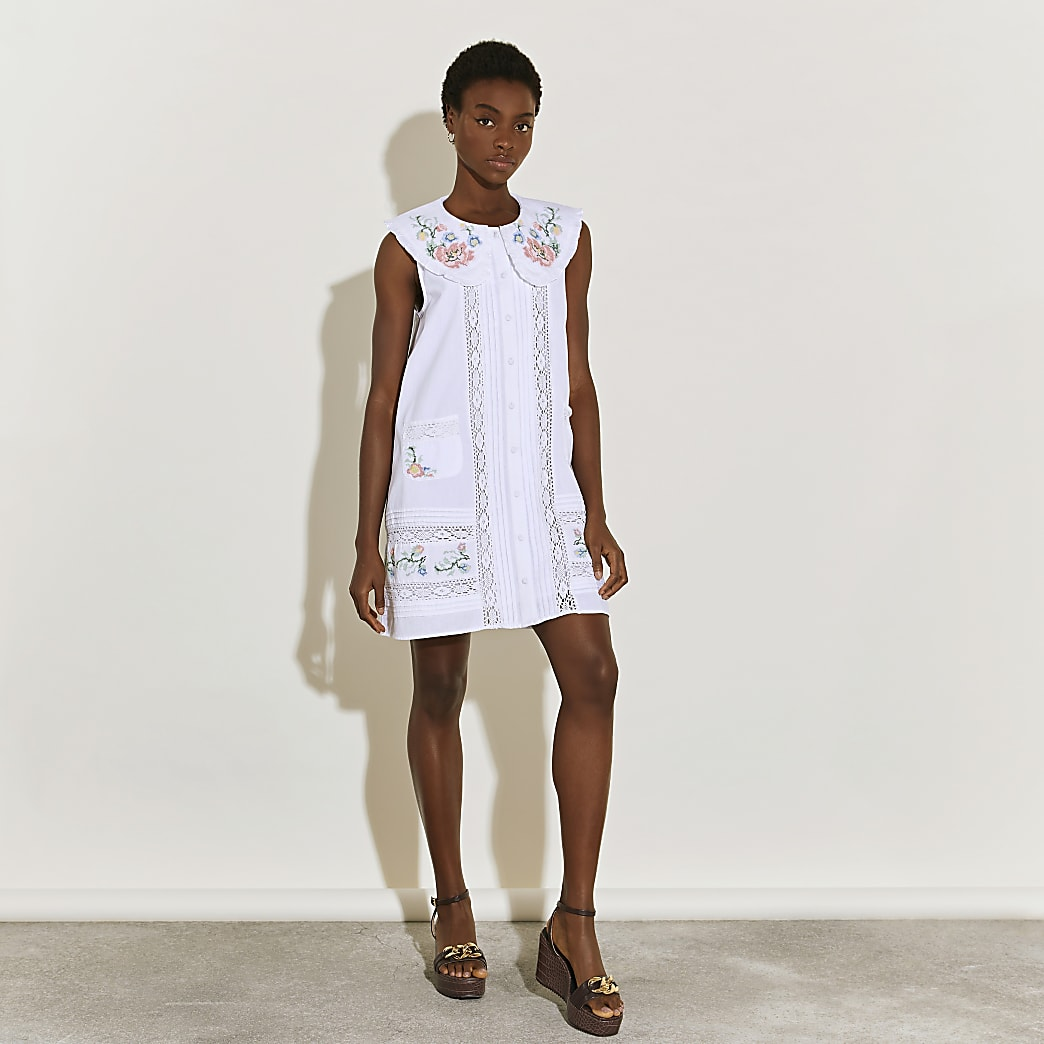 White collared embroidered dress