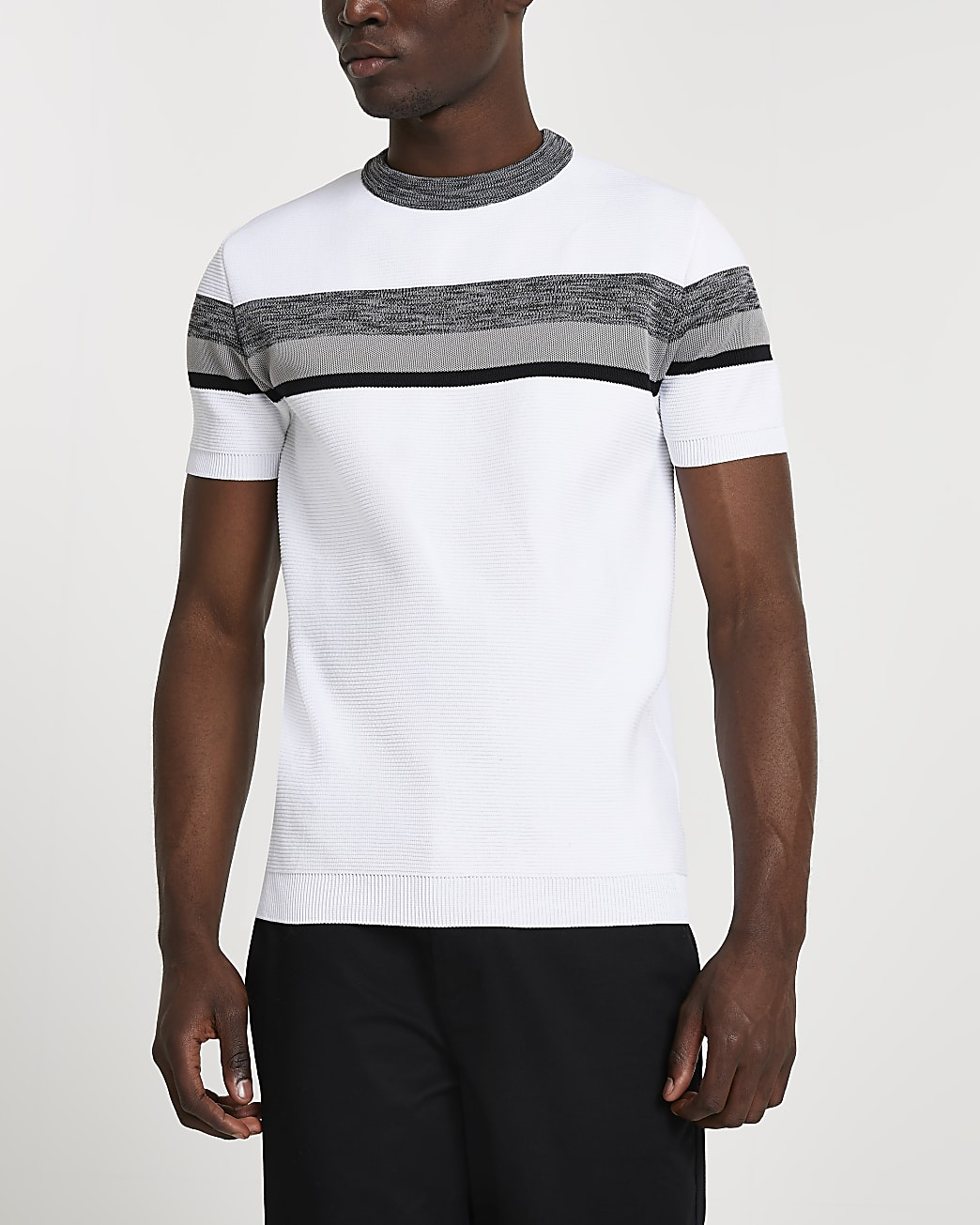 White colour block knitted slim fit t-shirt