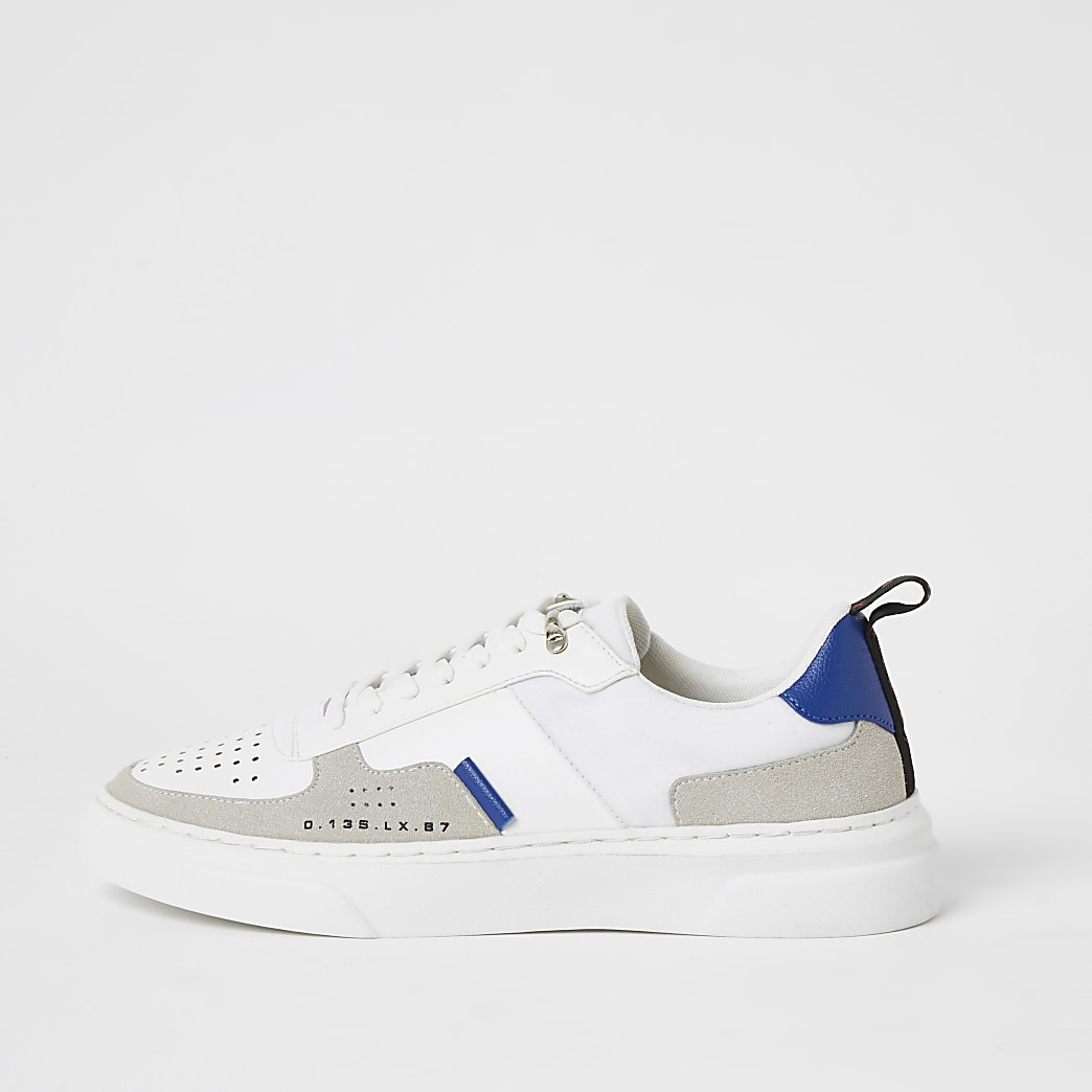 White colour block lace-up cupsole trainer