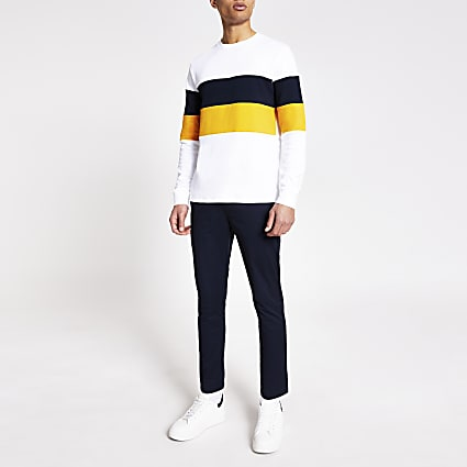 White colour block long sleeve T-shirt