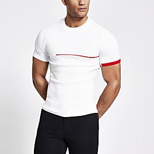 Weißes Muscle Fit Feinstrick-T-Shirt in Blockfarbe