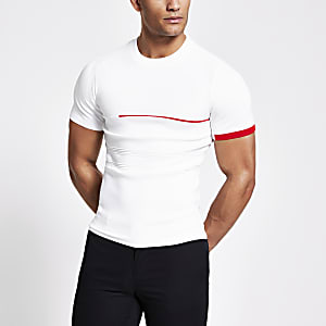 T-shirt en maille ajusté colour block blanc