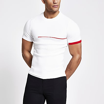 White colour block muscle fit knitted T-shirt