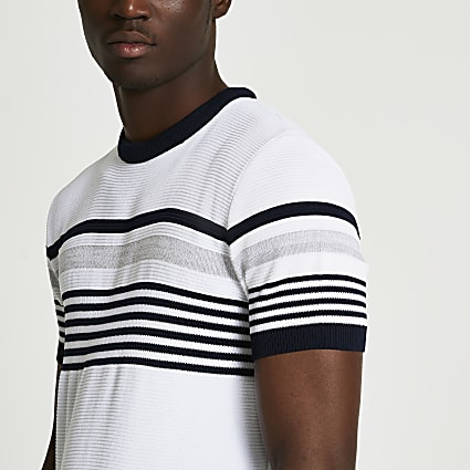 White colour block ottoman t-shirt