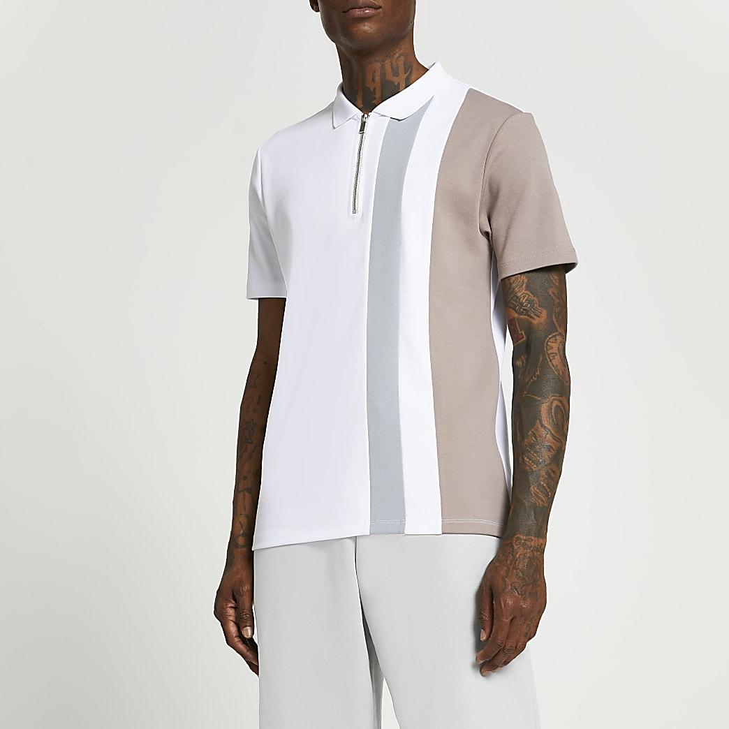 White colour block short sleeve polo shirt
