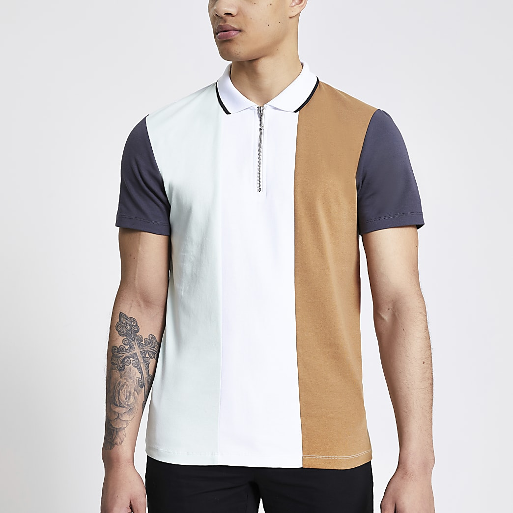 White colour blocked half zip polo shirt