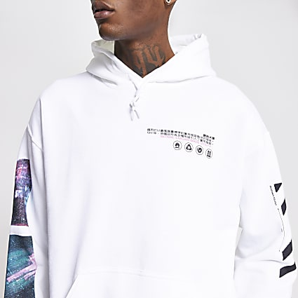 White 'Community' regular fit hoodie