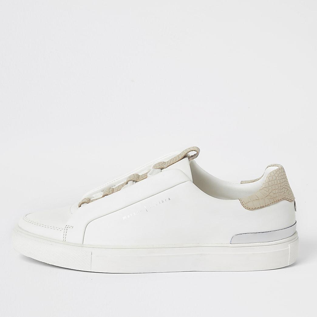 Witte sneakers met verscholen veters