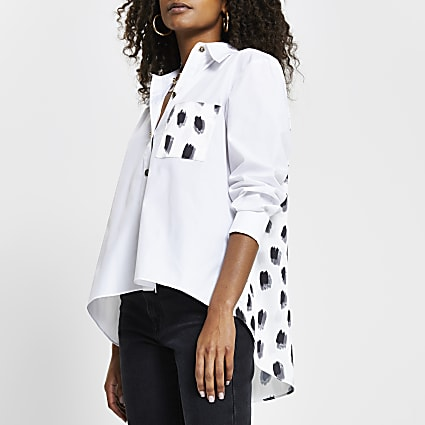 White contrast back long sleeve shirt