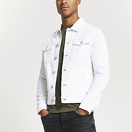 White contrast stitch denim jacket