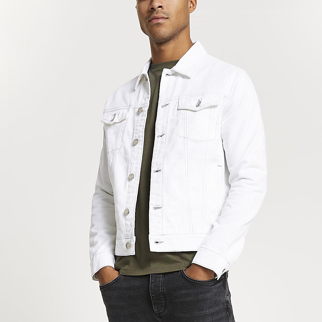 White contrast stitch denim jacket