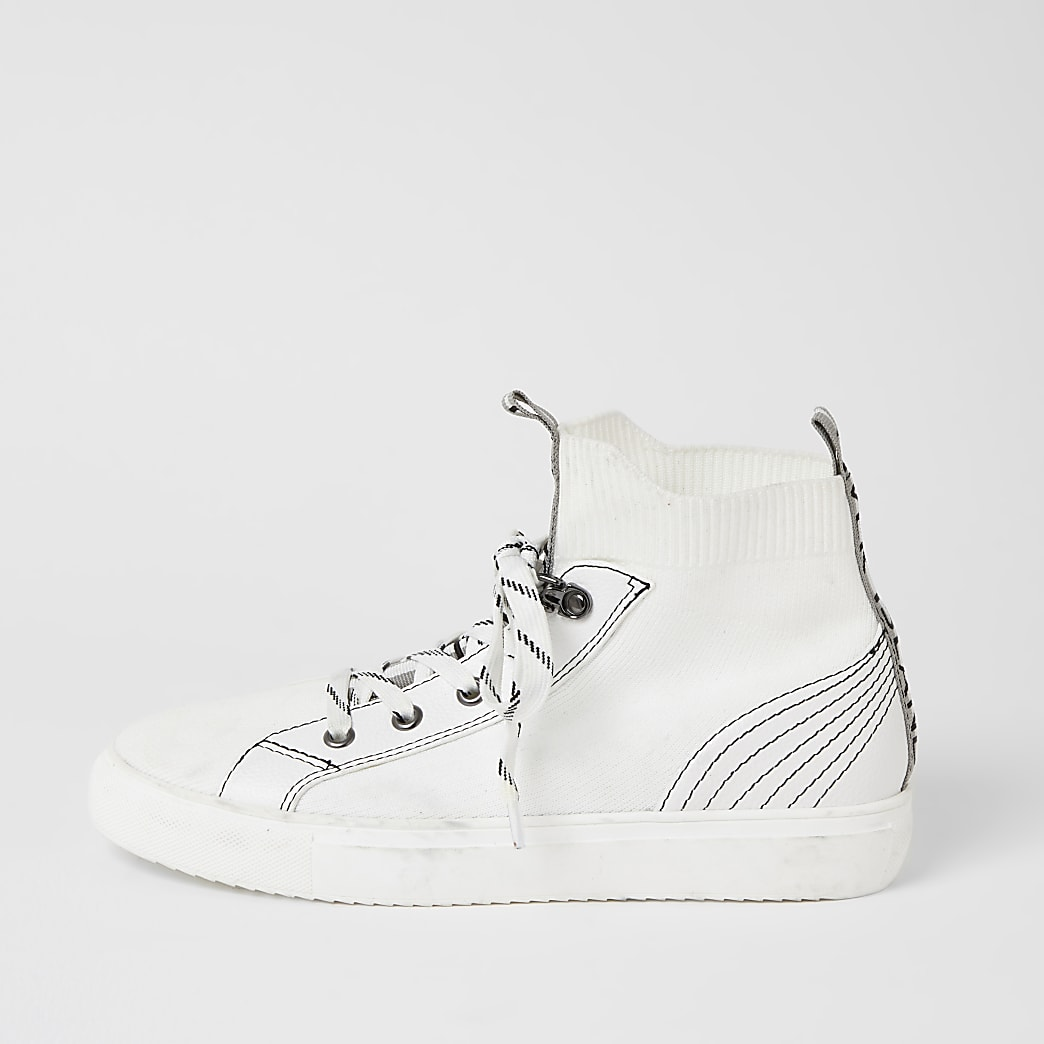 White contrast stitch high top knit trainers
