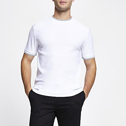 White contrast stripe slim fit t-shirt