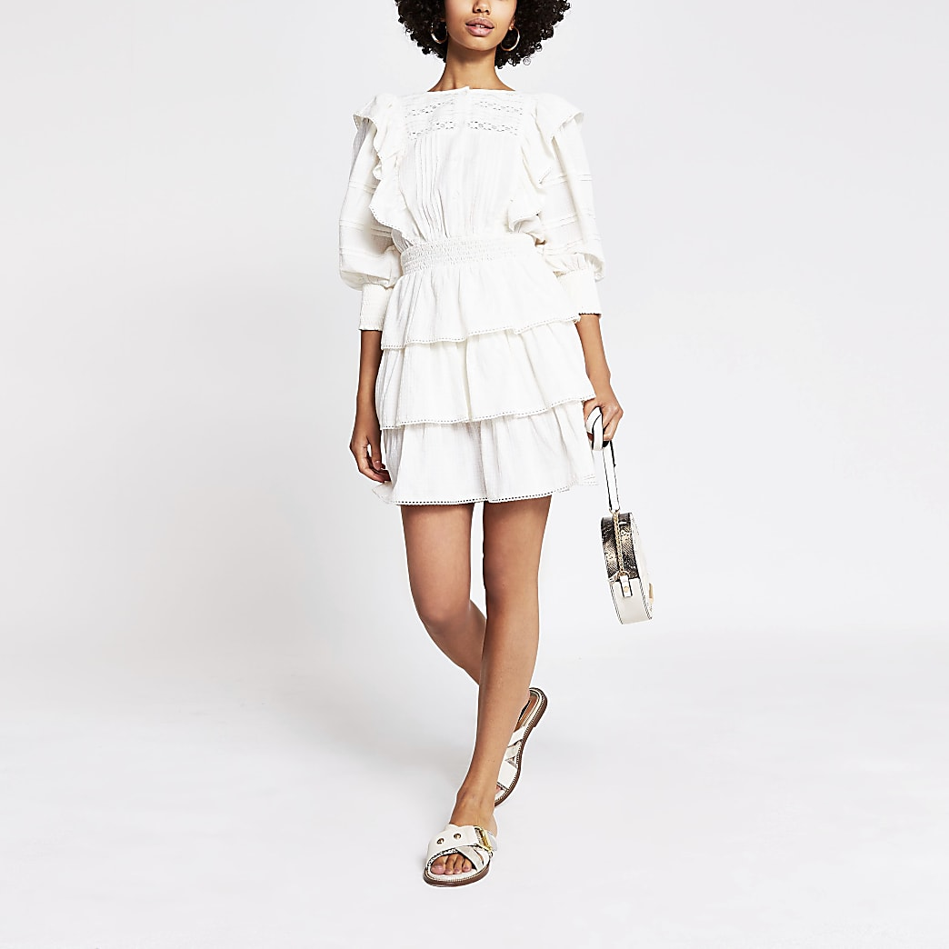 White cotton tiered dress