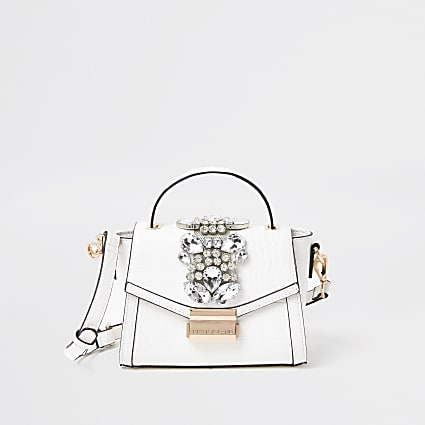 White croc embellished cross body bag