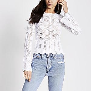White crochet bow back top