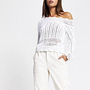 Witte gehaakte schouderloze trui met lange mouwen