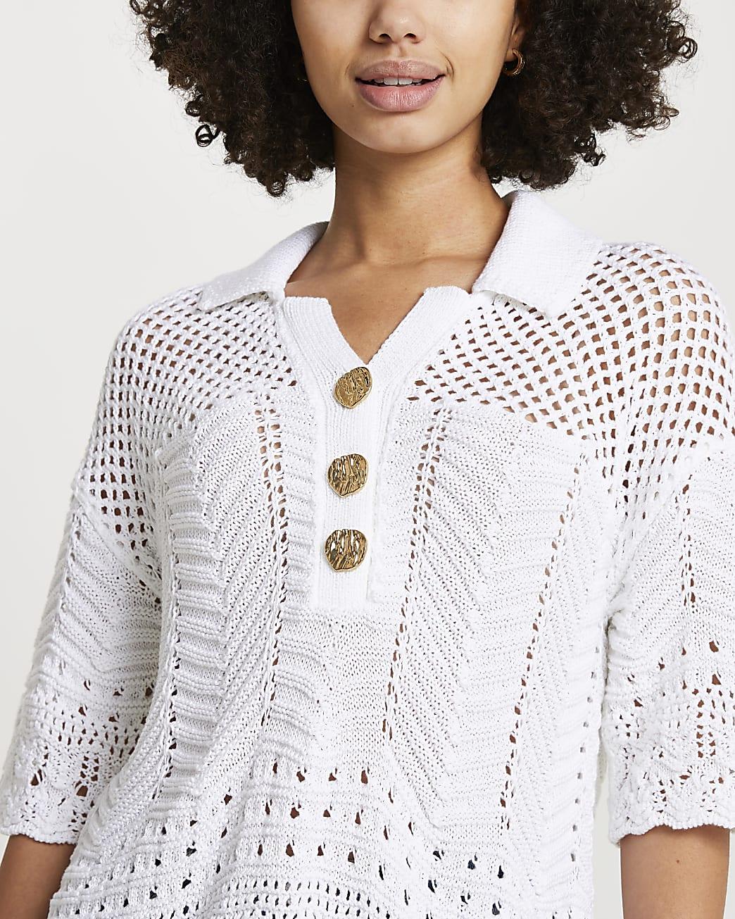White crochet polo t-shirt