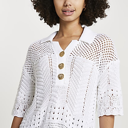 White crochet polo t-shirt