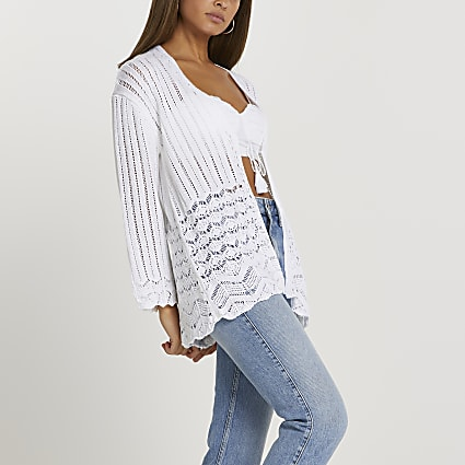 White crochet tie front cardigan