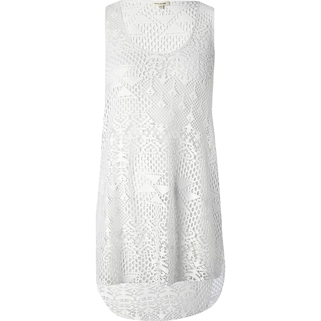 White crochet vest