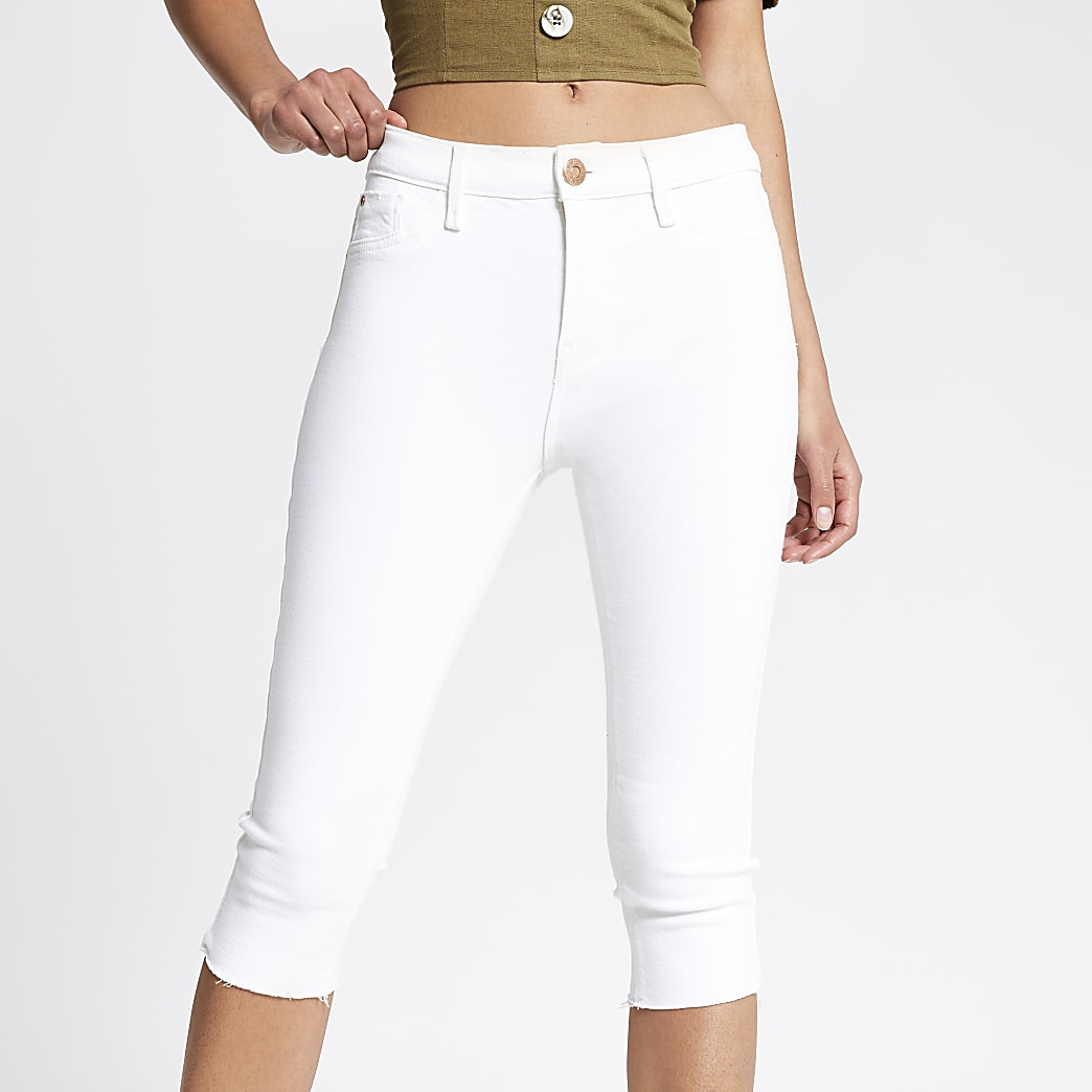 White cropped Amelie super skinny jeans