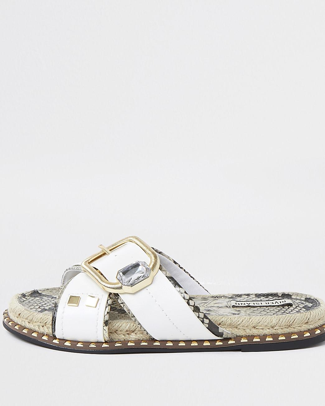 White cross strap espadrille sandals