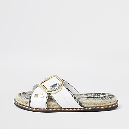 White cross strap espadrille sandals