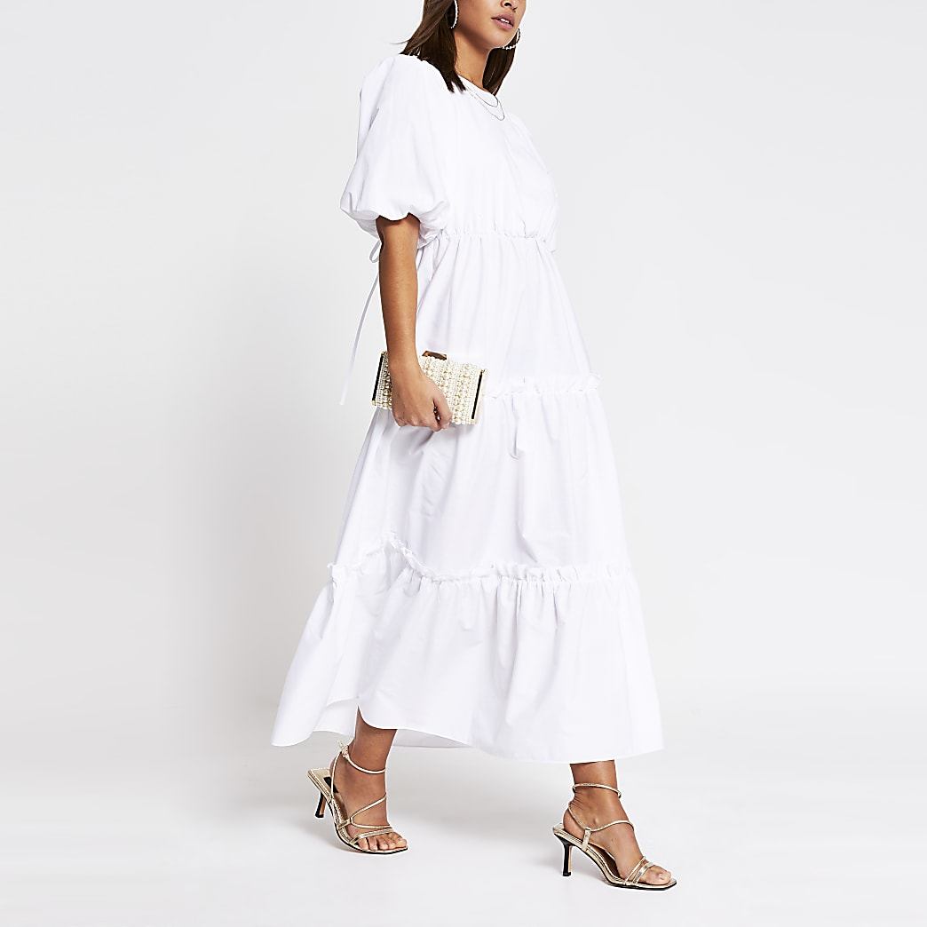 White cross tie back midi smock dress