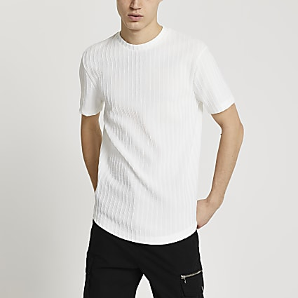White curve hem ribbed slim fit t-shirt