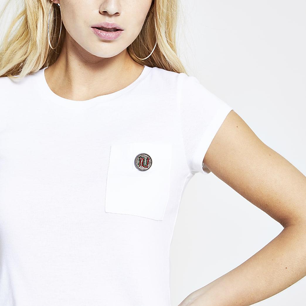 White curved hem RI diamante T-shirt