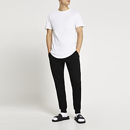 White curved hem t-shirt