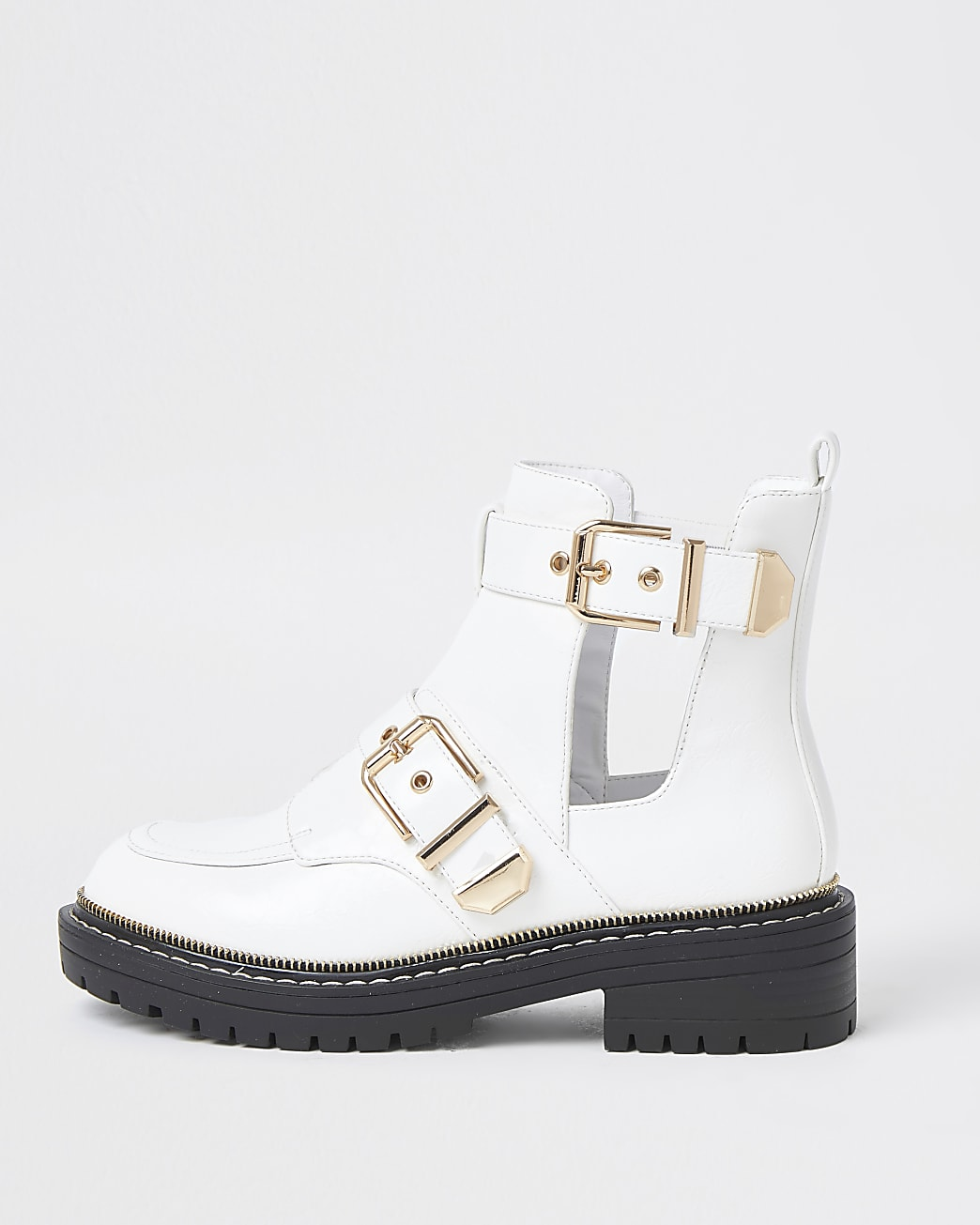 White cut out buckled boots