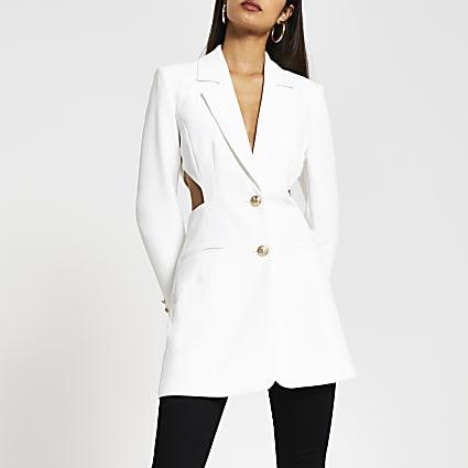White cut out waist blazer