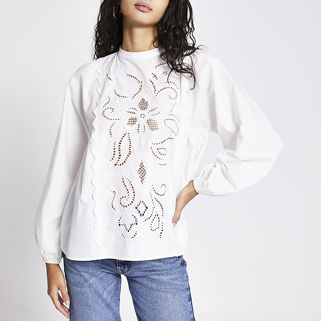 White cut work embroidered puff sleeve top
