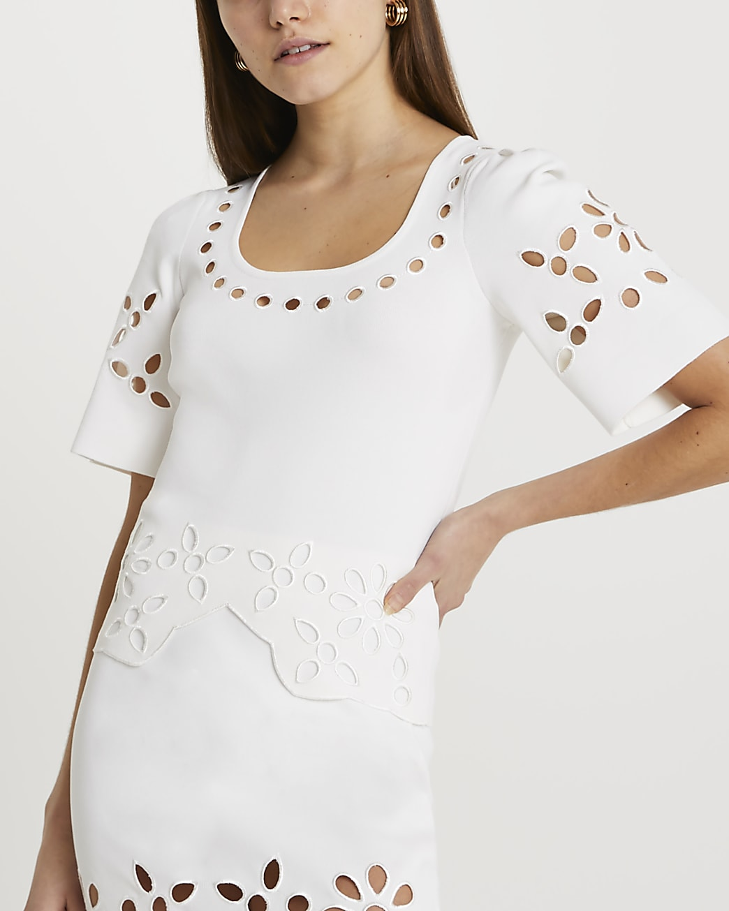 White cut work knitted t-shirt